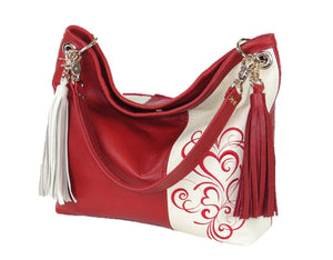 Valentine Hearts Red and White Slouchy Hobo Leather Bag handle