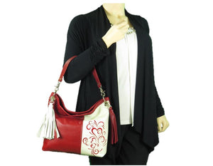 Valentine Hearts Red and White Slouchy Hobo Leather Bag model view