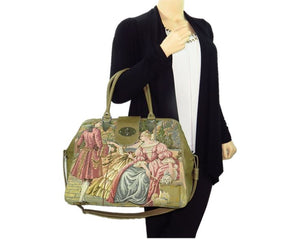Victorian French Tapestry and Leather Carpet Bag model