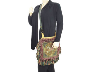 Vishnu Horse Kalaga Embroidery Gypsy Fringe Bag cross body view