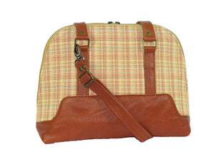 Whiskey Brown Leather Yellow Tweed Bowler Bag opposite side view
