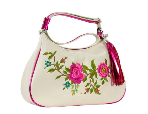 White Leather Pink Floral Embroidered Classic Hobo Bag