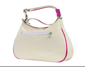 White Leather Pink Floral Embroidered Classic Hobo Bag back view