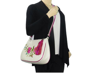 White Leather Pink Floral Embroidered Classic Hobo Bag model view