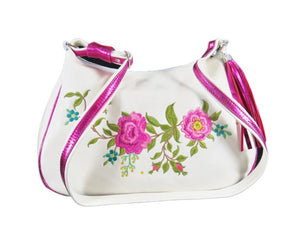 White Leather Pink Floral Embroidered Classic Hobo Bag view 2
