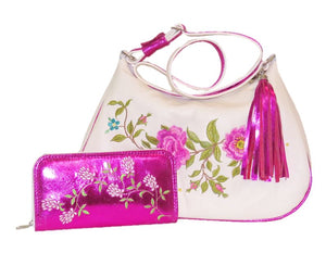 White Leather Pink Floral Embroidered Classic Hobo Bag with companion wallet