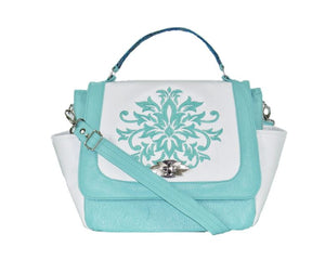 White and Mint Green Leather Top Handle Flap Bag
