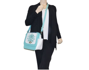 White and Mint Green Leather Top Handle Flap Bag model