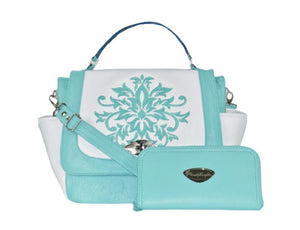 White and Mint Green Leather Top Handle Flap Bag with wallet