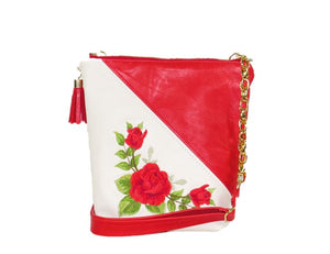 White and Red Embroidered Rose Leather Cross Body Bag