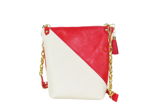 White and Red Embroidered Rose Leather Cross Body Bag back view