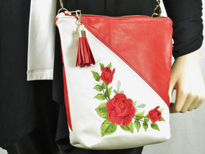 White and Red Embroidered Rose Leather Cross Body Bag close-up
