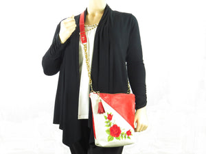 White and Red Embroidered Rose Leather Cross Body Bag on model