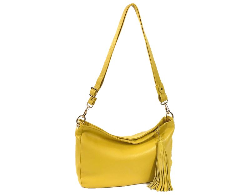 Yellow Leather Slouchy Hobo Bag
