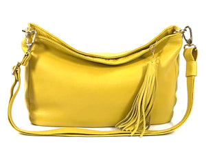 Yellow Leather Slouchy Hobo Bag front view