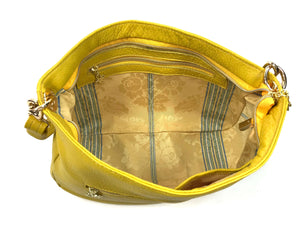 Yellow Leather Slouchy Hobo Bag interior zipper view