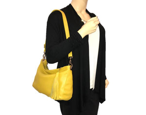 Yellow Leather Slouchy Hobo Bag model view