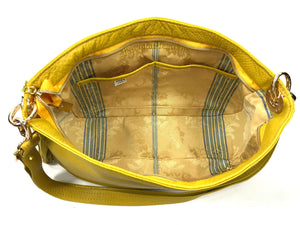 Yellow Leather Slouchy Hobo interior pockets view