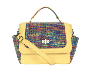 Yellow Leather and Rainbow Woven Flap Bag