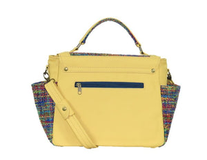 Yellow Leather and Rainbow Woven Flap Bag back view