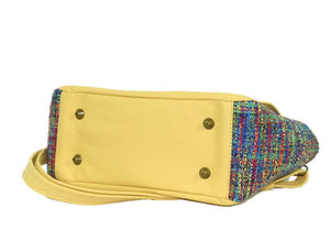 Yellow Leather and Rainbow Woven Flap Bag bottom view