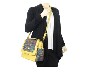 Yellow Leather and Rainbow Woven Flap Bag crossbody view
