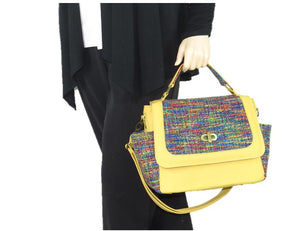 Yellow Leather and Rainbow Woven Flap Bag model view