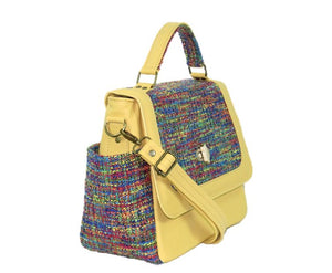 Yellow Leather and Rainbow Woven Flap Bag side view