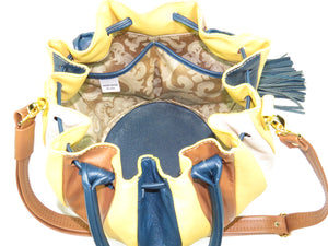 Yellow Pumpkin Bucket Bag interior view