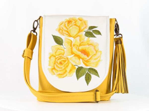 Yellow Roses Bouquet Cross Body Bag