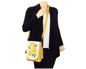 Yellow Roses Bouquet Cross Body Bag model view