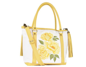 Yellow Roses White Leather Tote