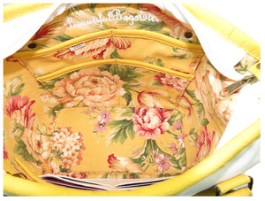 Yellow Roses White Leather Tote Interior Pockets