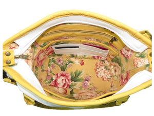 Yellow Roses White Leather Tote floral print lining with pockets