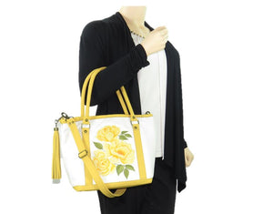 Yellow Roses White Leather Tote model