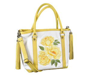 Yellow Roses White Leather Tote view 1