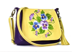 Yellow and Purple Pansy Bouquet Cross Body