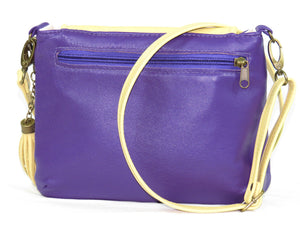 Yellow and Purple Pansy Bouquet Cross Body Leather Bag backside zipper pocket