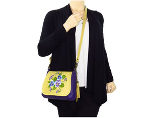 Yellow and Purple Pansy Bouquet Cross Body model view