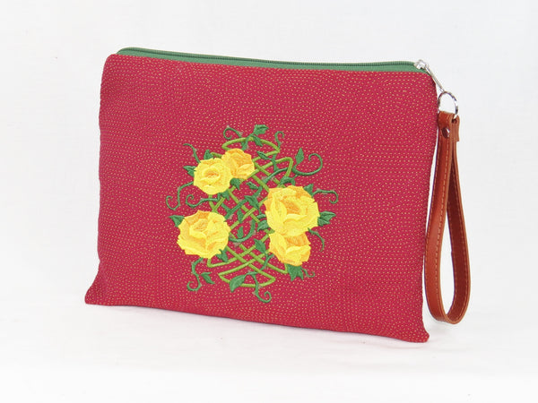 Zipper pouch Celtic knot Yellow Roses embroidery