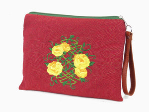 Zipper pouch Celtic knot Yellow Roses embroidery view 2