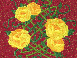Zipper pouch Celtic knot Yellow Roses embroidery close-up