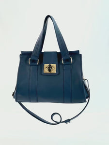 Natalie Blue Leather Satchel 3D view