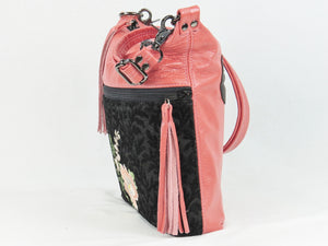 Black and Coral Leather Cross Body Bag Asian Floral Embroidery side view with tassel
