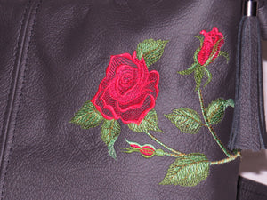 black leather embroidered rose bag