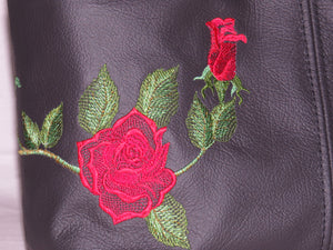 embroidered rose black lether handbag