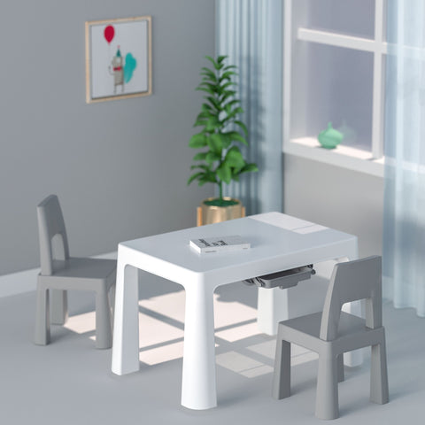 KIDS WHITE AND GREY HEIGHT ADJUSTABLE TABLE AND 2 CHAIRS