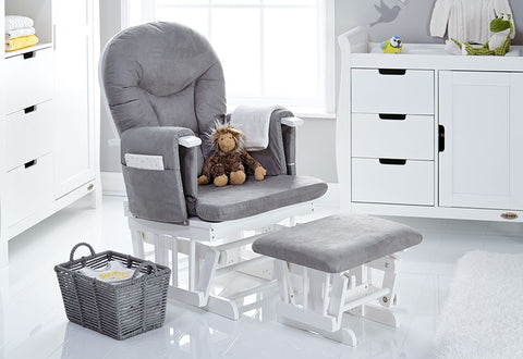 Obaby Reclining Glider Chair- White with Grey Cushion