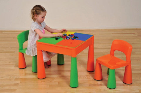 5 IN 1 MULTIPURPOSE ACTIVITY TABLE & 2 CHAIRS – ORANGE & GREEN