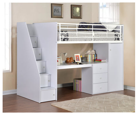 Dakota workstation/high sleeper White - Childrens Funky Furniture